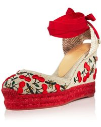 Castaner - Women's Carina Merlion Park Embroidered Ankle Tie Wedge Espadrilles - Lyst