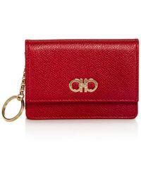 Ferragamo - Gancini Gusset Leather Card Case - Lyst
