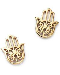 Moon & Meadow - Hamsa Hand Stud Earrings In 14k Yellow Gold - Lyst