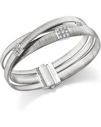 Marco Bicego - 18k White Gold Masai Three Strand Crossover Diamond Bracelet - Lyst
