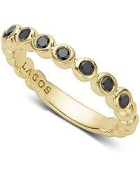 Lagos - Gold & Black Caviar Collection 18k Gold & Black Diamond Ring - Lyst