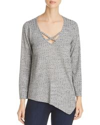 Status By Chenault - Ribbed Asymmetric Hem Sweater - Lyst