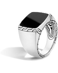 John Hardy - Batu Classic Chain Sterling Silver Signet Ring With Black Jade - Lyst