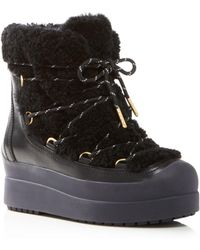 Tory Burch - Women's Courtney Round Toe Leather & Shearling Booties - Lyst