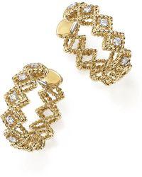Roberto Coin - 18k Yellow Gold New Barocco Diamond Hoop Earrings - Lyst