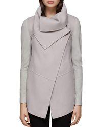 Mackage - Vane Draped Wrap Leather-sleeve Coat - Lyst