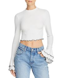 Lost + Wander - Austin Bell-sleeve Cropped Top - Lyst