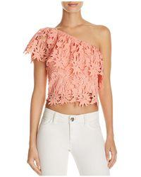 Lush - Lace One Shoulder Crop Top - Lyst