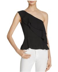 Olivaceous - Ruffled Georgette One Shoulder Top - Lyst