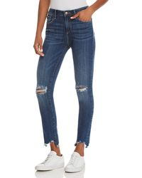 Aqua - Distressed High-rise Skinny Jeans In Medium Wash - Lyst