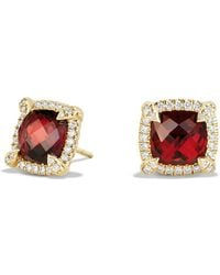 David Yurman - Châtelaine Pavé Bezel Stud Earrings With Garnet And Diamonds In 18k Gold - Lyst