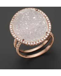 Meira T - 14k Rose Gold Druzy Ring With Diamonds - Lyst