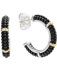 Lagos - Black Caviar Ceramic 18k Gold And Sterling Silver 3 Station Hoop Earrings - Lyst
