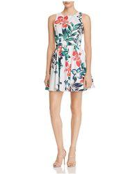 Aqua - Botanical Print Fit-and-flare Dress - Lyst