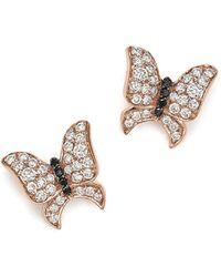 Bloomingdale's - White And Black Diamond Butterfly Stud Earrings In 14k Rose Gold - Lyst