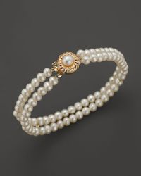 Bloomingdale's - Cultured Freshwater Pearl Two Row Bracelet In 14k Yellow Gold - Lyst