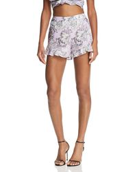 Bardot - Ruffle-hem Floral Print Shorts - Lyst