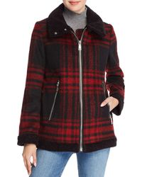 Vince Camuto - Faux Shearling Collar Oversized Plaid Jacket - Lyst