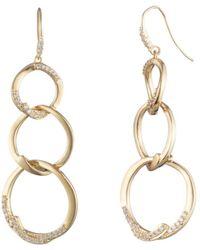 Carolee - Gold-tone Pavé Triple Link Linear Drop Earrings - Lyst