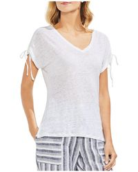 Vince Camuto - Heathered Linen Drawstring-sleeve Tee - Lyst