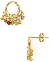 Aqua - Sterling Circle Rainbow Fringe Earring - Lyst
