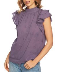 1.STATE - Embroidered Flutter-sleeve Top - Lyst