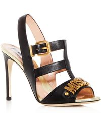 Moschino - Women's Logo Leather Caged High-heel Sandals - Lyst