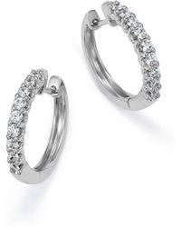 Bloomingdale's - Diamond Hoop Earrings In 14k White Gold, 1.0 Ct. T.w. - Lyst