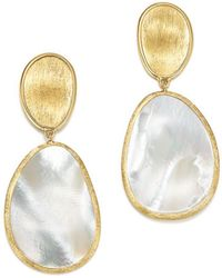 Marco Bicego - 18k Yellow Gold Lunaria Mother Of Pearl Two Drop Earrings - Lyst