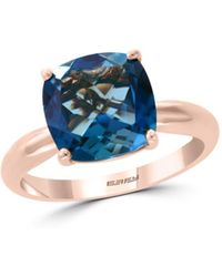 Bloomingdale's - Blue Topaz Cushion Statement Ring In 14k Rose Gold - Lyst