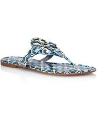 b67ea6a37d93 Lyst - Tory Burch Square Miller Patent Leather Thong Sandals in Black