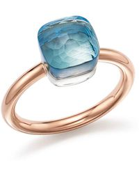 Pomellato - Nudo Mini Ring With Faceted Blue Topaz In 18k Rose And White Gold - Lyst