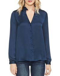 Vince Camuto - Ruched Button-down Blouse - Lyst