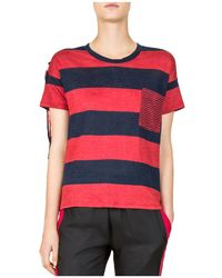 The Kooples - Striped Lace-up Shoulder Tee - Lyst