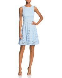 Aqua - V-back Lace Fit-and-flare Dress - Lyst