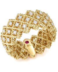 Roberto Coin - 18k Yellow Gold New Barocco Three Row Diamond Ring - Lyst