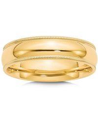 Bloomingdale's - Men's 6mm Milgrain Comfort Fit Wedding Band In 14k Yellow Gold - Lyst