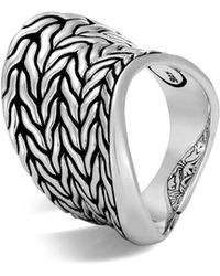 John Hardy - Sterling Silver Classic Chain Wave Ring - Lyst