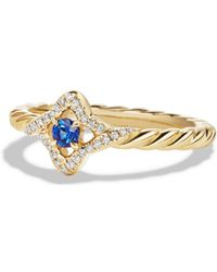 David Yurman | Venetian Quatrefoil Ring With Blue Sapphire And Diamonds In 18k Gold | Lyst