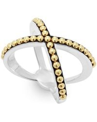 Lagos - 18k Gold And Sterling Silver Enso Caviar X Ring - Lyst