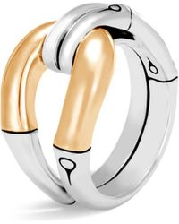 John Hardy - 18k Yellow Gold And Sterling Silver Bamboo Loop Ring - Lyst
