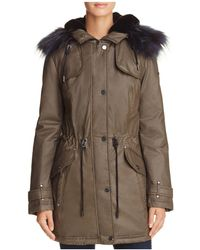 Laundry by Shelli Segal - Faux Fur Trim Waxed Anorak - Lyst