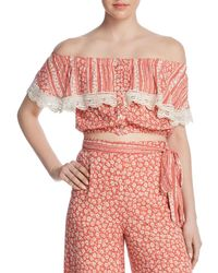 Lost + Wander - Lost + Wander Suns Out Tiered Off-the-shoulder Cropped Top - Lyst
