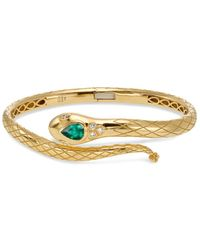Temple St. Clair - 18k Yellow Gold Bella Serpent Bangle With Tsavorite And Diamonds - Lyst
