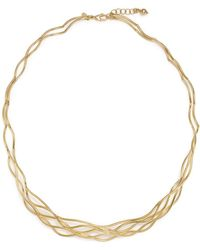 """Bloomingdale's - 14k Yellow Gold Wave Wire Collar Necklace, 17"""" - Lyst"""