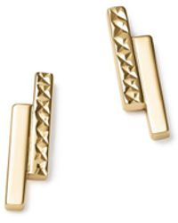 Bloomingdale's - 14k Yellow Gold Textured Double Bar Stud Earrings - Lyst