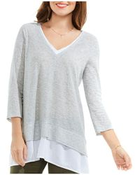 Vince Camuto - Petites Mixed Media Top - Lyst