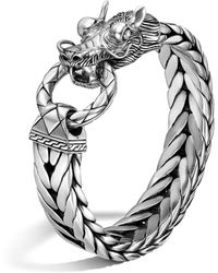 John Hardy - Men's Naga Silver Dragon Head Bracelet On Fishtail Chain - Lyst