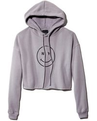 Knowlita - Ny Smiley Cropped Hooded Sweatshirt - Lyst