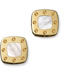 Roberto Coin | 18k Yellow Gold Mini Pois Moi Mother-of-pearl Square Stud Earrings | Lyst